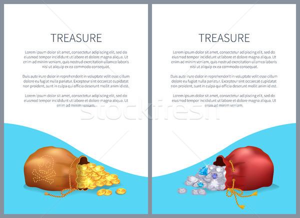 Tesouro pôsteres sacos brilhante diamantes ouro Foto stock © robuart