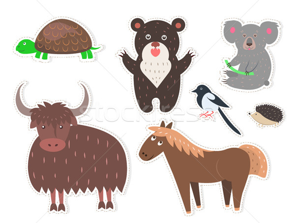 Wild Cartoon Animals Isolated Stickers Collection Stock photo © robuart