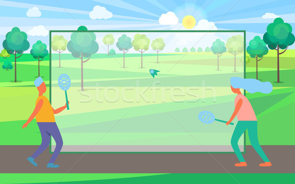 People Playing Badminton in Summertime Park Stock photo © robuart