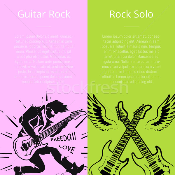 Guitar Rock and Solo Posters with Text Vector Stock photo © robuart