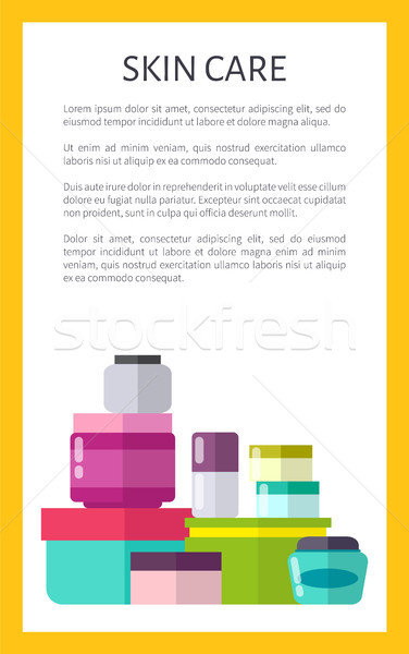 Skin Care Means with Minerals in Jars Promo Poster Stock photo © robuart