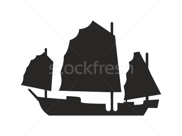 Ancient Ship with Broad Canvas Black Silhouette Stock photo © robuart