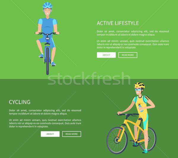 Ciclismo ativo estilo de vida colorido isolado verde Foto stock © robuart