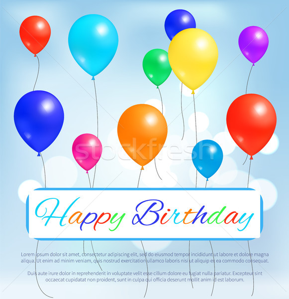 Happy Birthday Greeting Card Color Balloons Flying Stock photo © robuart