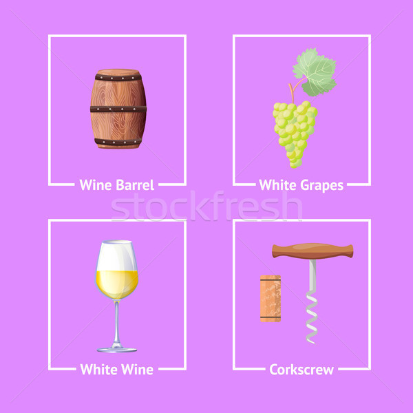 Set of Bordeaux Festival Icons Wine Wooden Barrel Stock photo © robuart