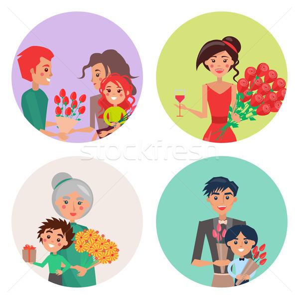 Vier iconen bloemen mensen gelukkig Stockfoto © robuart