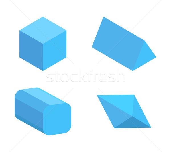 Set of Four Blue Geometric Figures, Color Banner Stock photo © robuart