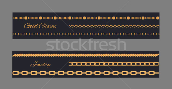 Gold Chains Cards Collection Vector Illustration Stock photo © robuart