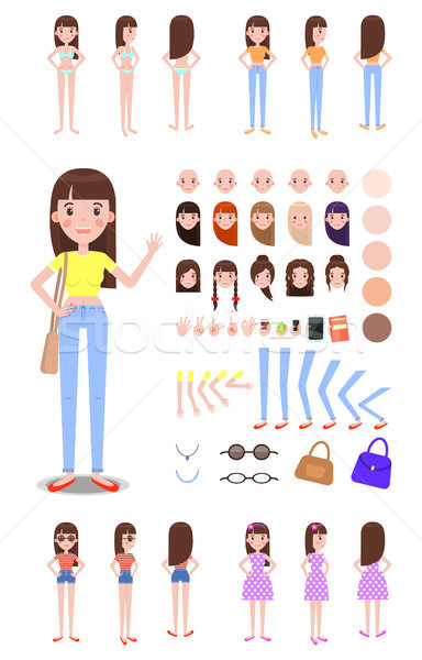 Female Character Constructor with Spare Parts Set Stock photo © robuart