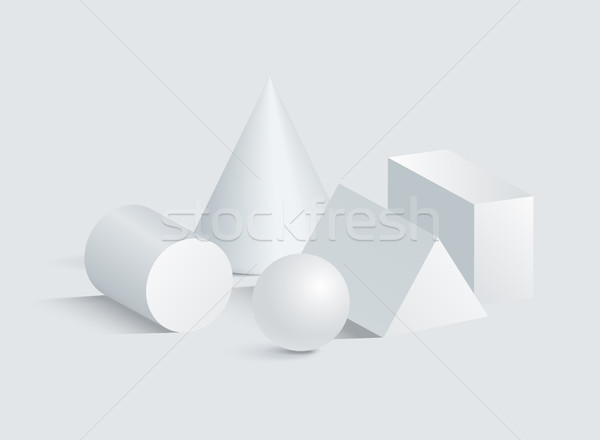 Kegel cilinder bol prisma 3D meetkundig Stockfoto © robuart