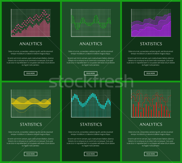 Statistiek analytics grafieken vector kaarten illustratie Stockfoto © robuart