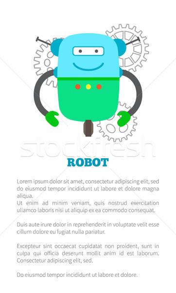 Big Robot on Wheel with Antennas Promo Banner Stock photo © robuart