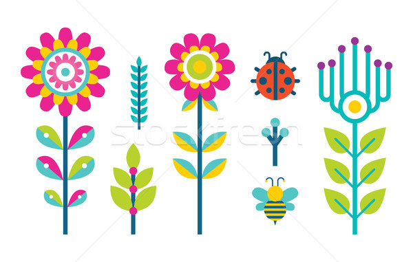 Creative Spring or Summer Flowers Blooming Bud Set Stock photo © robuart