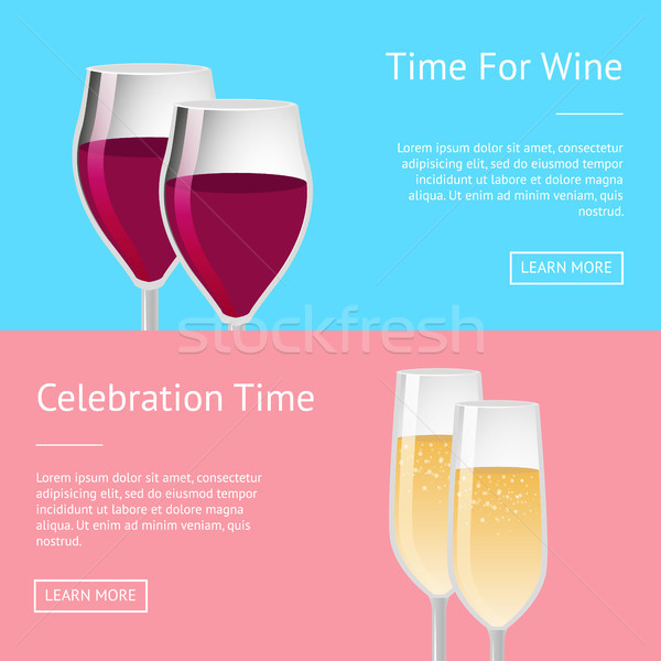 Time for Celebration with Wine Set of Web Posters Stock photo © robuart