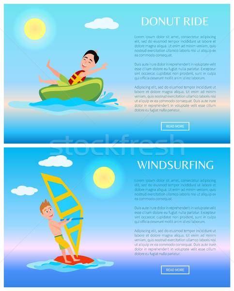 Rosquinha windsurf bandeira vetor cartaz ilustração Foto stock © robuart