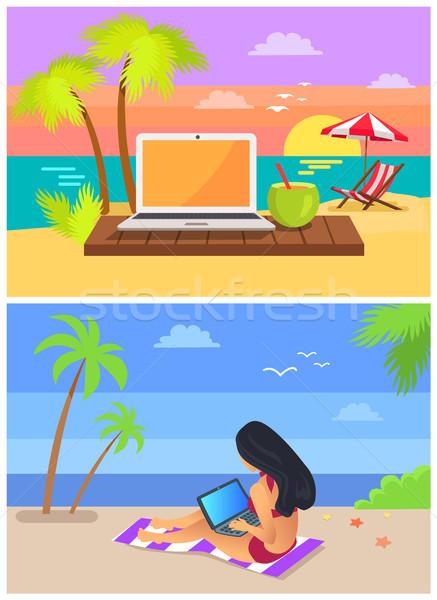 Woman Sitting on Rug Seaside Vector Illustration Stock photo © robuart