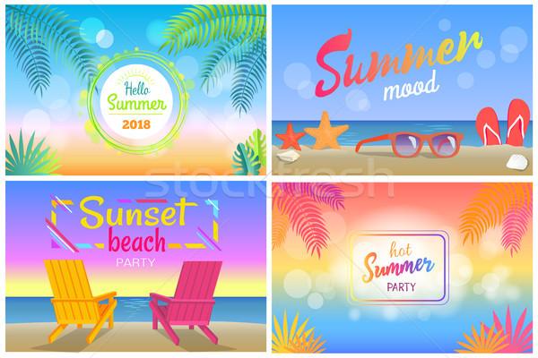 Hello nyár trópusi promóciós plakátok szett Stock fotó © robuart