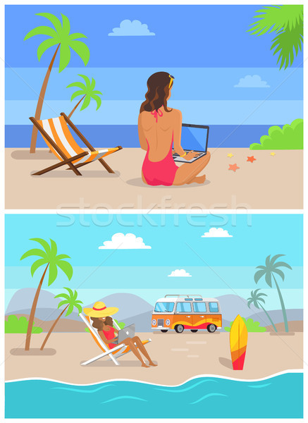 Work by Seaside Freelance Set Vector Illustration Stock photo © robuart
