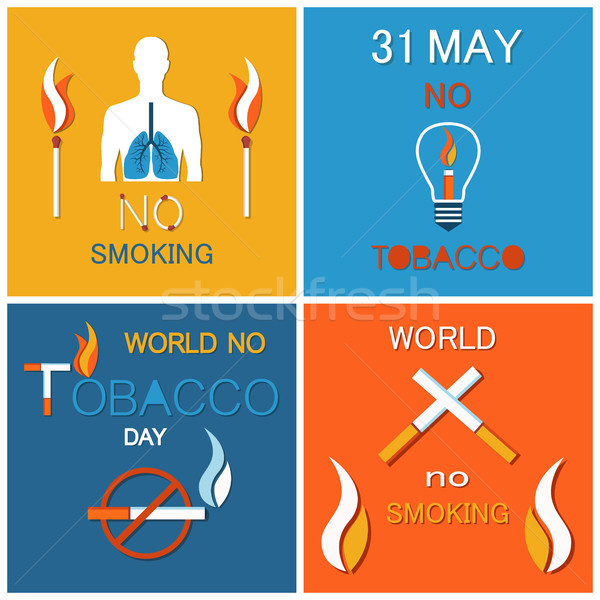 World No Tobacco Day Banners Set. Refuse Nicotine Stock photo © robuart