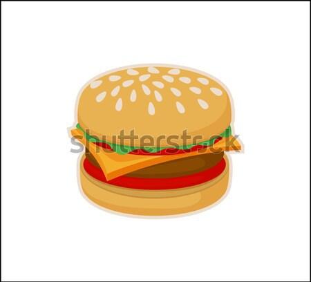 Hamburger icon sjabloon geïsoleerd witte smakelijk Stockfoto © robuart