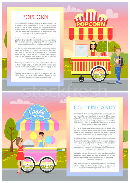 Popcorn and Cotton Candy Set Vector Illustration Stock photo © robuart