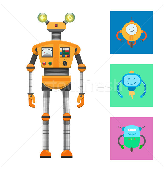 Robot Collection and Icons Vector Illustration Stock photo © robuart