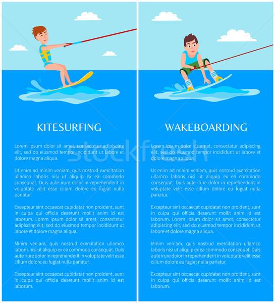 Kitesurfing and Wakeboarding Vector Illustrations Stock photo © robuart