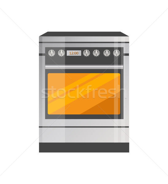 Kitchen Stove of High Quality in Metallic Corpus Stock photo © robuart
