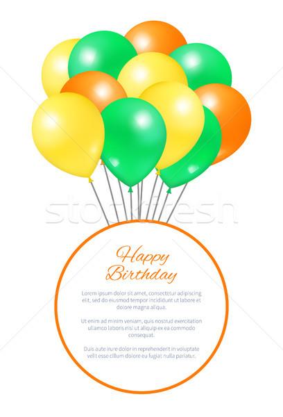 Feliz cumpleaños postal globos grande fiesta decoraciones Foto stock © robuart