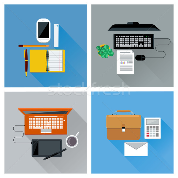 Workplace with digital devices top view icon set Stock photo © robuart