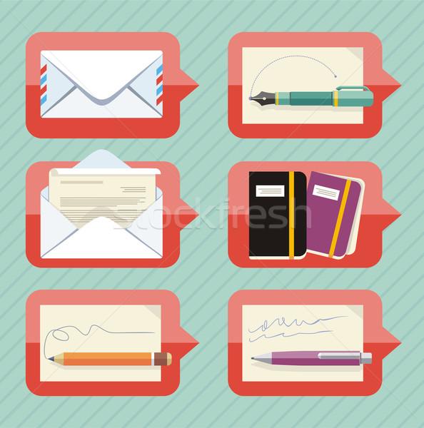 Biuro obiektów czat bańki kopercie Zdjęcia stock © robuart