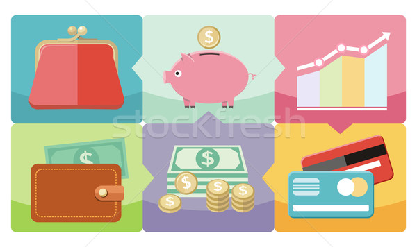 Dollar, purse, coin box pig icons Stock photo © robuart