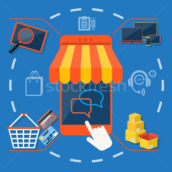 Internet shopping concept smartphone with awning Stock photo © robuart