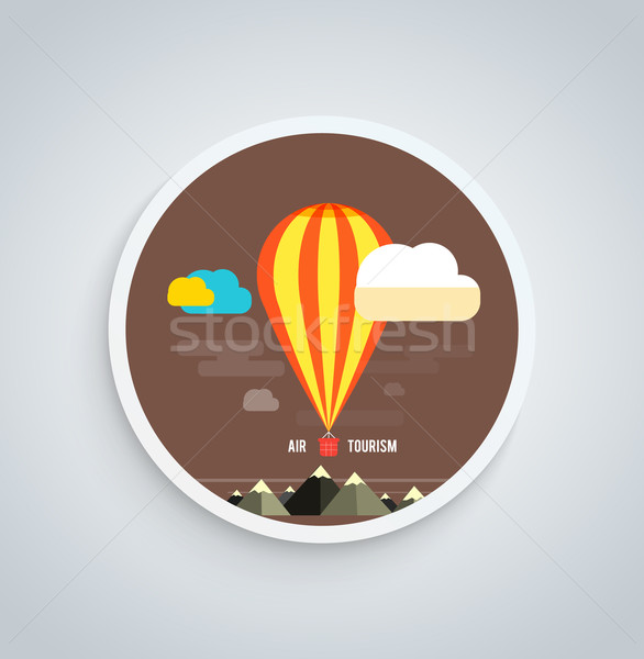 Hot Air Balloon Flying Over Mountain Round Banner Stock photo © robuart