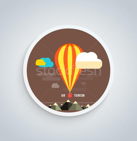 Luchtballon vliegen berg banner iconen Stockfoto © robuart