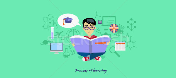 Process of Learning Icon Flat Design Stock photo © robuart