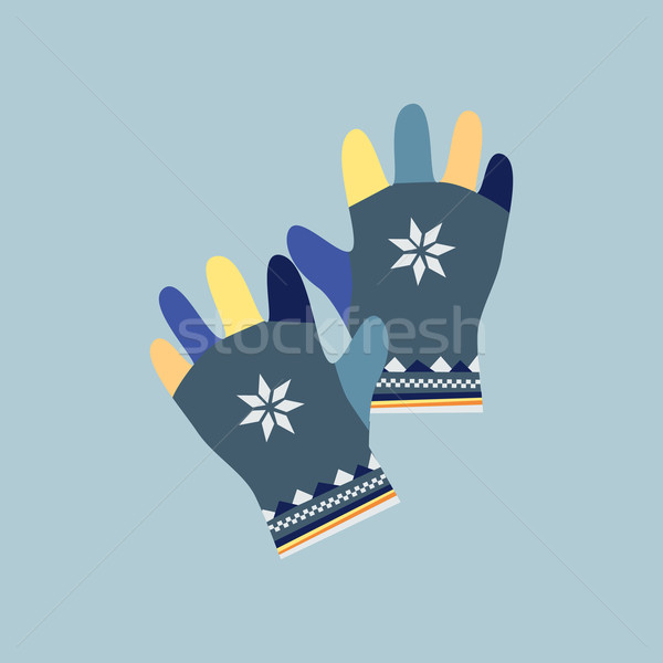 Winter Mittens in Soft Vintage Colors. Gloves Stock photo © robuart