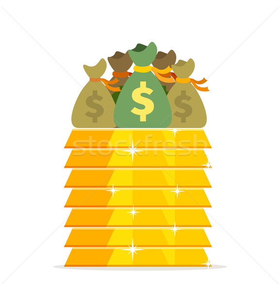 Gold bars and bags of money design flat Stock photo © robuart