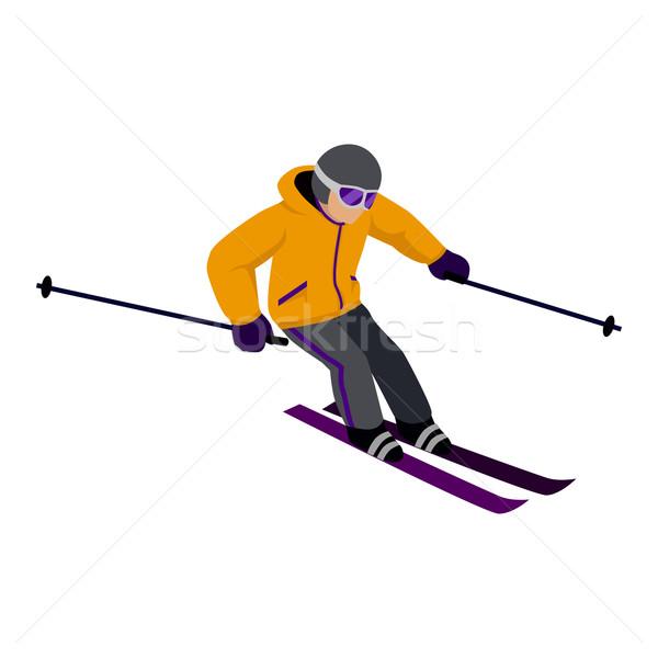 Pessoas esqui estilo projeto isolado esquiador Foto stock © robuart