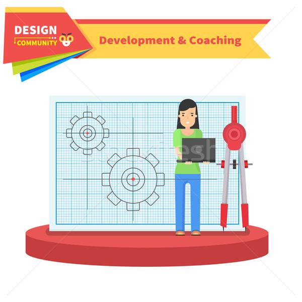 開発 コーチング 女性 アイコン ウェブ 建設 ストックフォト © robuart