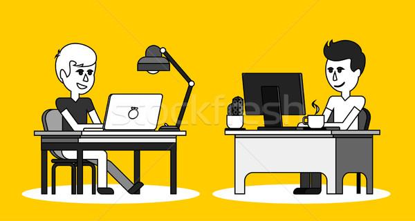 Férfi munka számítógép terv laptop üzletember Stock fotó © robuart