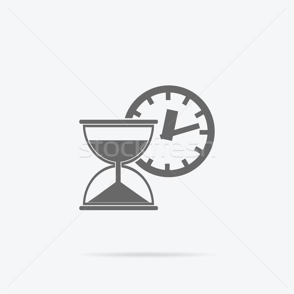 Tijd is geld icon zandloper munten business valuta Stockfoto © robuart