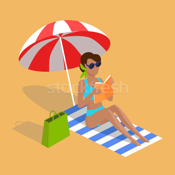 Summer Vacation on Tropical Beach Illustration Foto stock © robuart