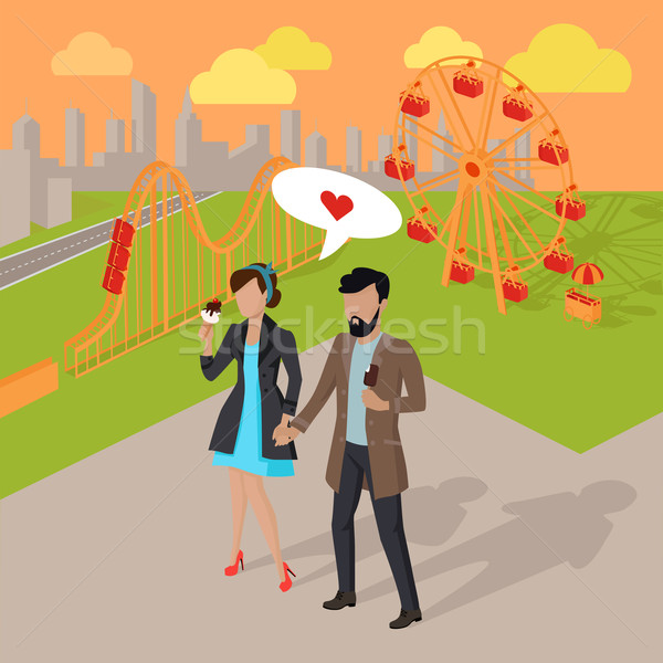 Date in the Amusement Park Illustration Stock photo © robuart