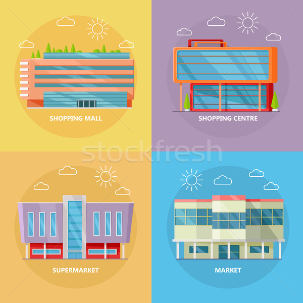 Shopping Centre Icon Set in Flat Design Stock photo © robuart