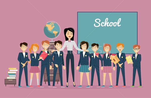 Nauczyciel uczniowie Tablica powrót do szkoły nauczycieli dzień Zdjęcia stock © robuart