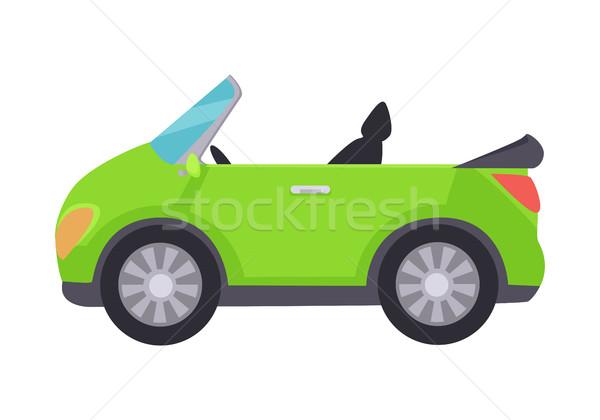 Verde cabriolé icono aislado blanco coche Foto stock © robuart