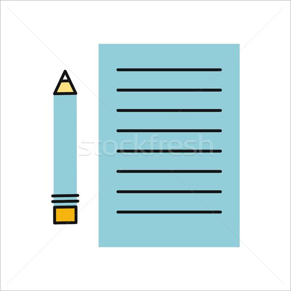 Foto stock: Desenho · lápis · folha · papel · lista