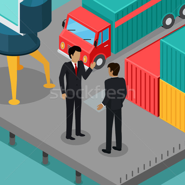 Business Negotiations in the Port Vector Concept  Stock photo © robuart