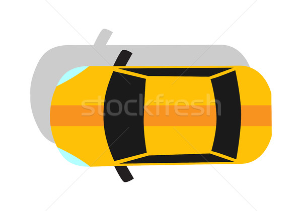 Yellow Car Top View Flat Design Stock photo © robuart